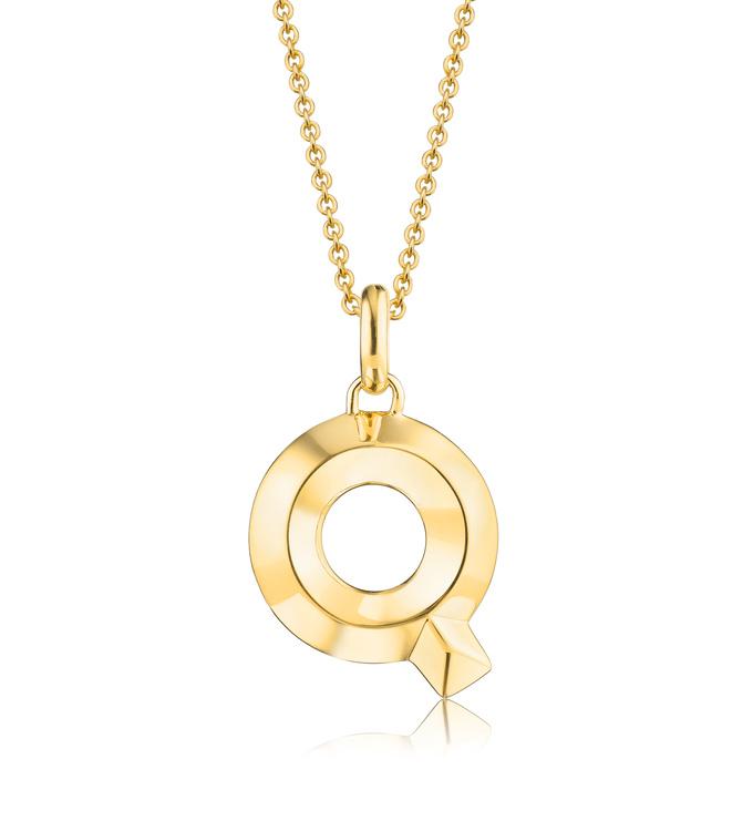 Gold Vermeil Alphabet Pendant Q Chain