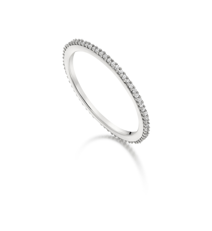 Diamond silver skinny eternity ring left angled view
