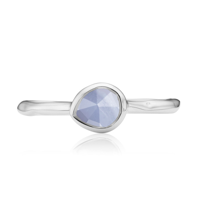 Blue Lace Agate Siren small stacking ring top view