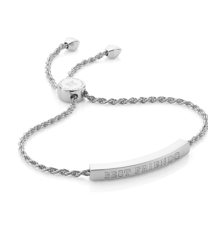 Engraved Silver Linear Chain Bracelet