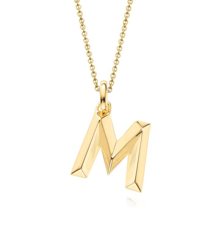 Gold Vermeil Alphabet Pendant M Chain