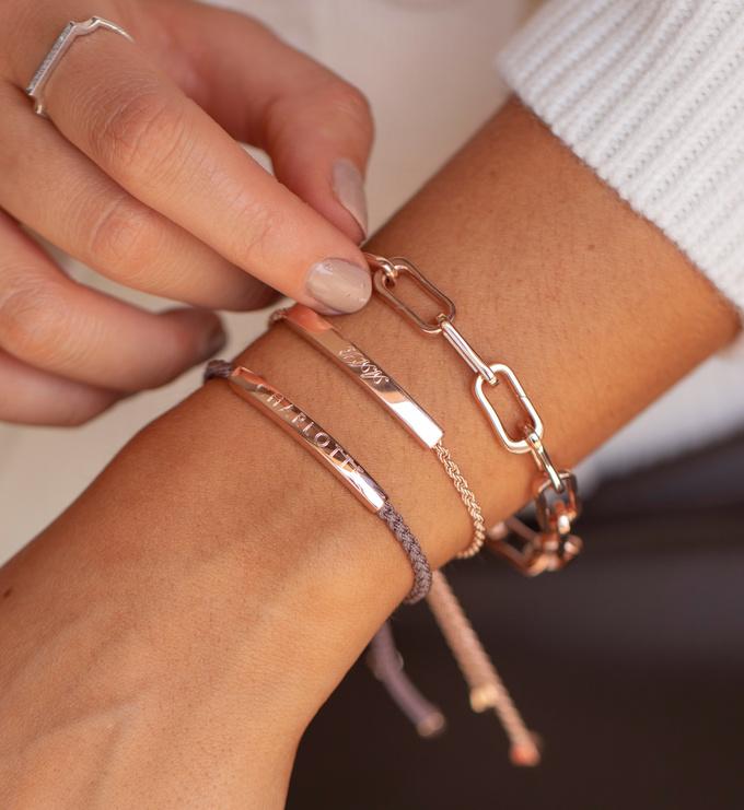 Rose Gold Vermeil Linear Chain Bracelet - Monica Vinader