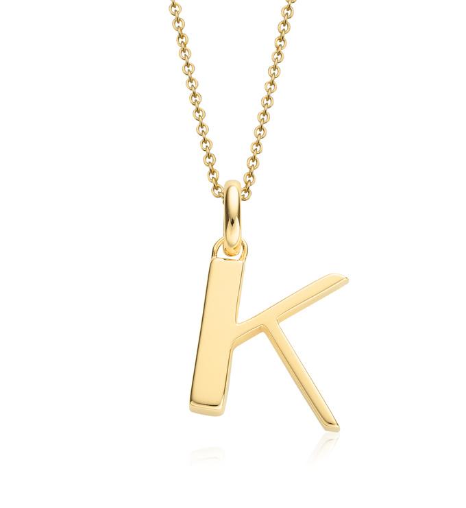 Gold Vermeil Alphabet Pendant K Chain