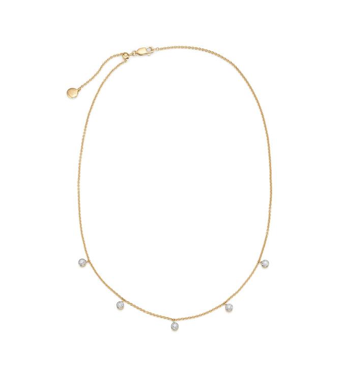 Gold Vermeil Fiji Tiny Button Diamond Necklace - Diamond - Monica Vinader
