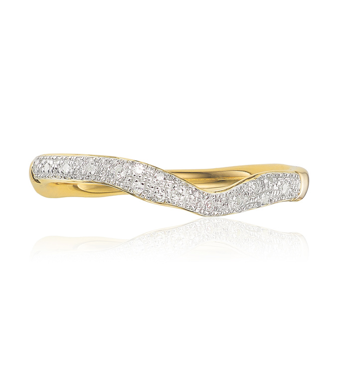 Gold Vermeil Riva Wave Stacking ring Front