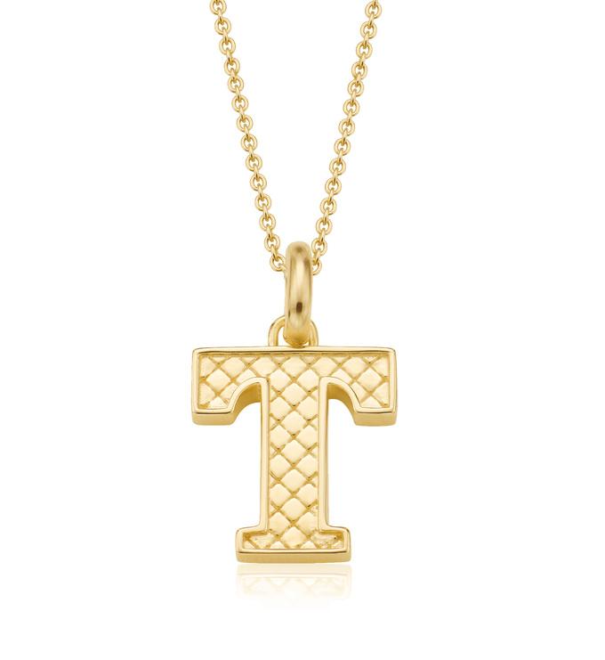 Gold Vermeil Alphabet Pendant T Chain