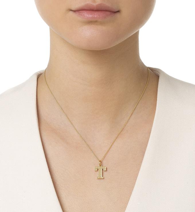 Gold Vermeil Alphabet Pendant T Model