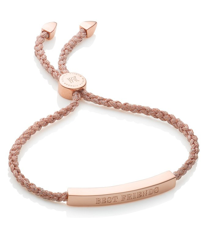 Engraved Rose Gold Vermeil Linear Friendship Bracelet - Rose Gold Metallica Cord