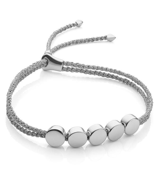 Sterling Silver Linear Bead Friendship Bracelet - Silver Metallica - Monica Vinader