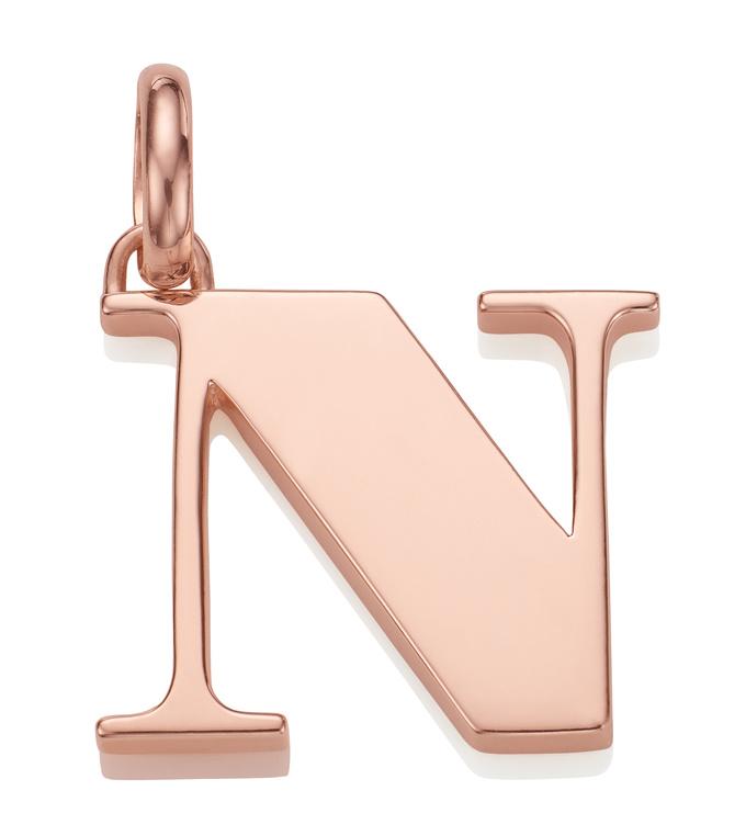 Rose Gold Vermeil Alphabet Pendant N