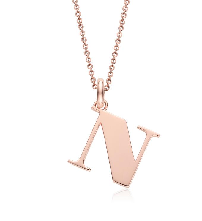 Rose Gold Vermeil Alphabet Pendant N Chain