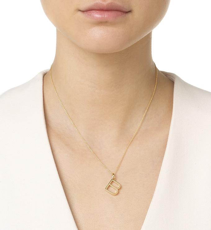Gold Vermeil Alphabet Pendant B Chain