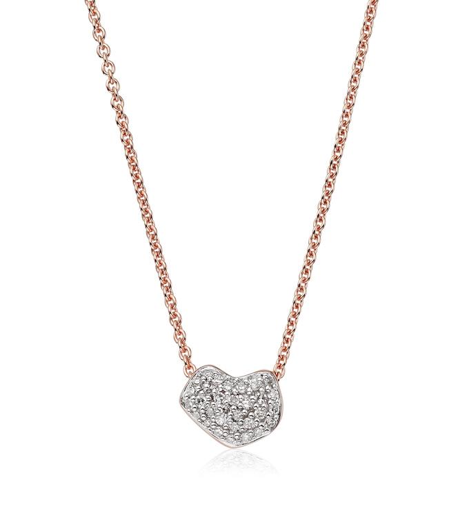 Rose Gold Vermeil Nura Mini Heart Necklace - Diamond - Monica Vinader