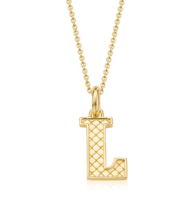 Gold Vermeil Alphabet Pendant L Chain