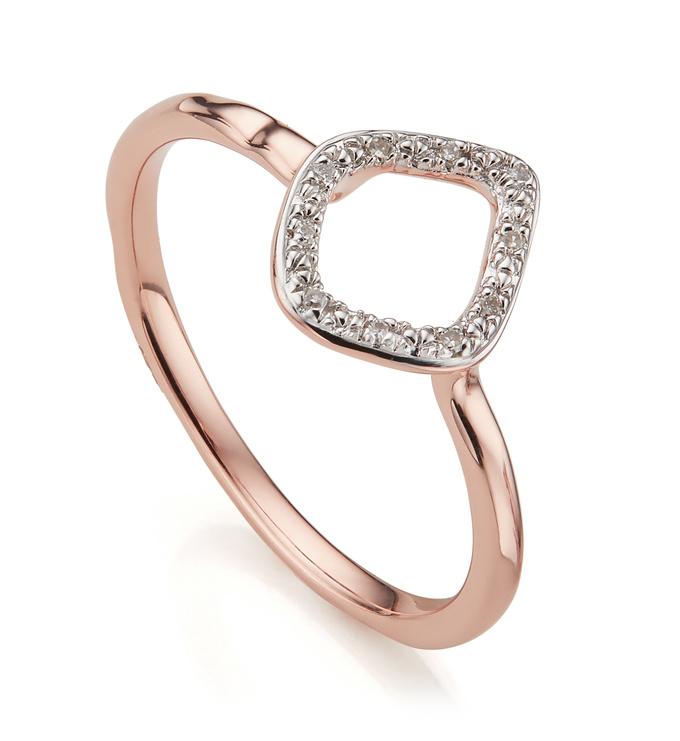 Rose Gold Vermeil Riva Mini Kite Stacking Ring - Diamond - Monica Vinader