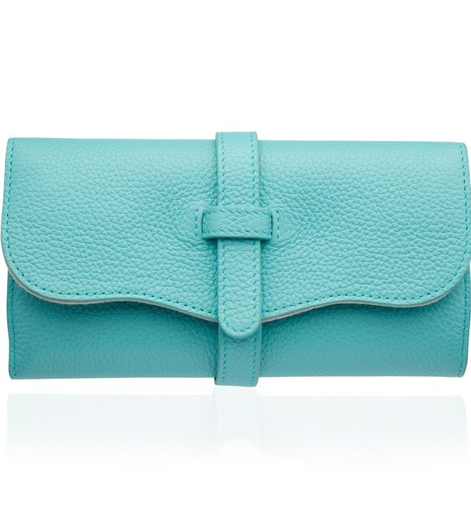 Leather Leather Jewellery Roll - Turquoise - Monica Vinader