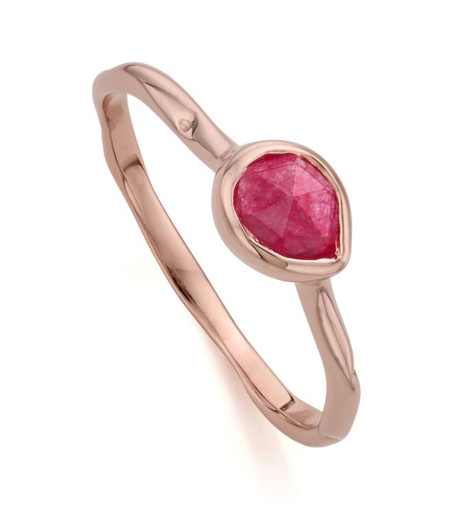 Rose Gold Vermeil Siren Small Stacking Ring - Pink Quartz - Monica Vinader
