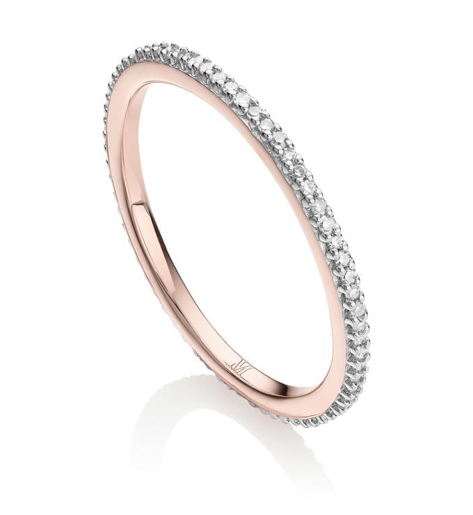 Rose Gold Vermeil Skinny Eternity Ring - Diamond - Monica Vinader