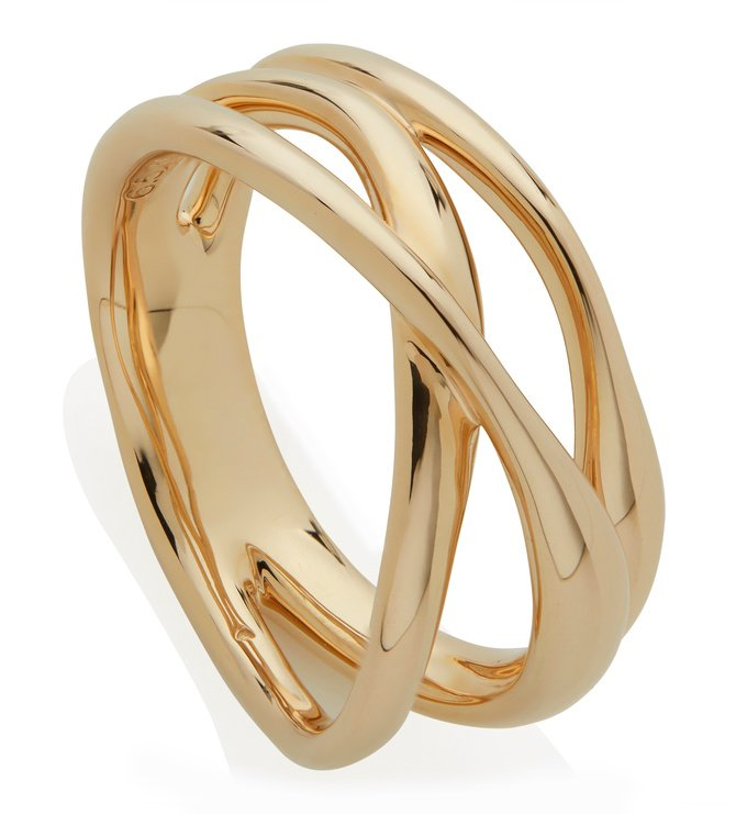 Gold Vermeil Nura Cross Over Ring - Monica Vinader