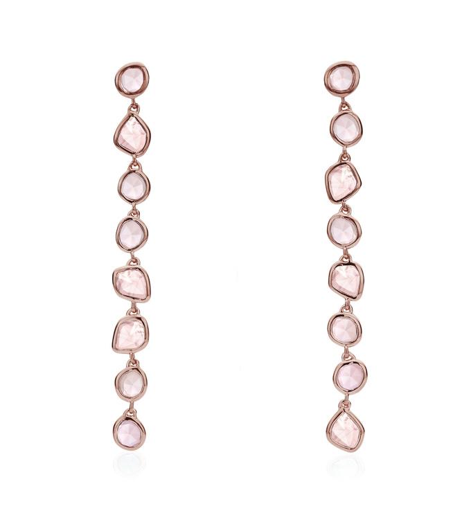Rose Gold Vermeil Siren Mini Nugget Cocktail Earrings - Rose Quartz - Monica Vinader