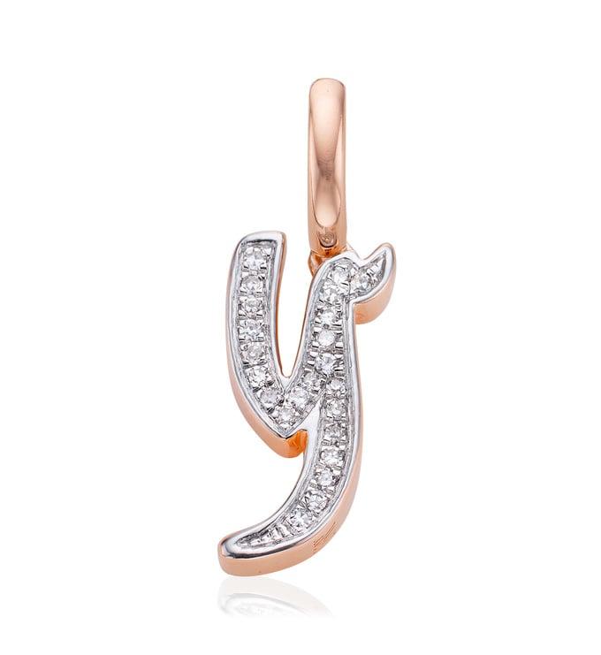 Rose Gold Vermeil Alphabet Pendant Y