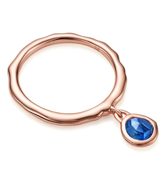Rose Gold Vermeil Siren Charm Ring - Kyanite - Monica Vinader