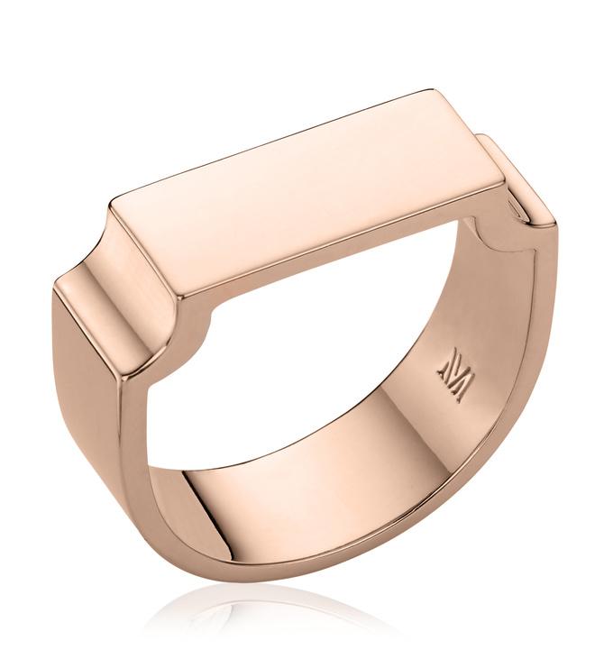 Rose Gold Vermeil Signature Wide Ring - Monica Vinader