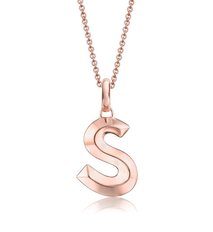 Rose Gold Vermeil Alphabet Pendant S Chain