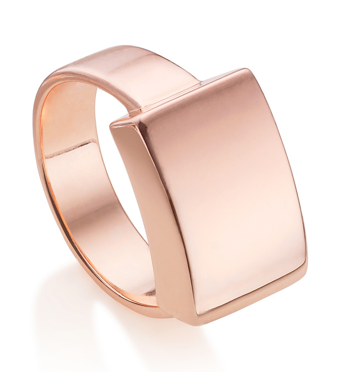 Rose Gold Vermeil Linear Large Plain Ring - Monica Vinader