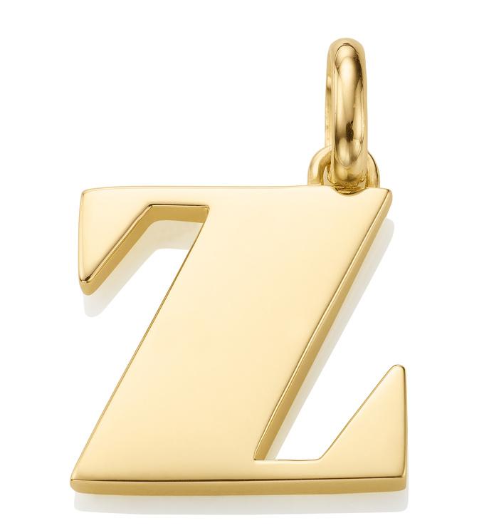 Gold Vermeil Alphabet Pendant Z