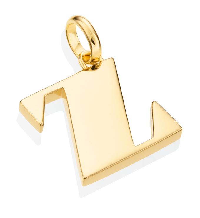 Gold Vermeil Alphabet Pendant Z 2