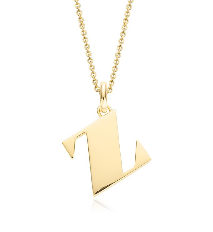 Gold Vermeil Alphabet Pendant Z Chain