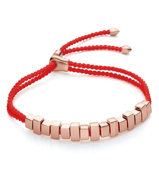Rose Gold Vermeil Linear Ingot Bracelet - Coral - Monica Vinader