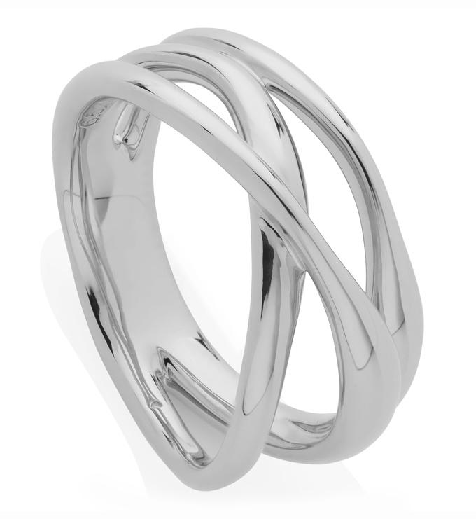 Sterling Silver Nura Cross Over Ring - Monica Vinader
