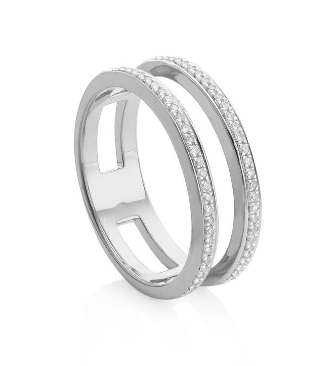 Skinny Diamond Double Band Ring