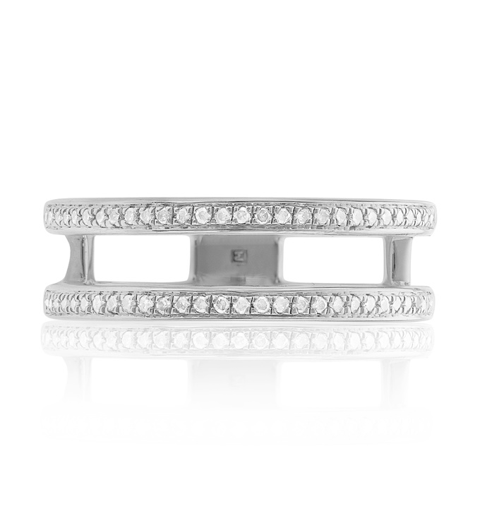 Skinny Diamond Double Band Ring Front