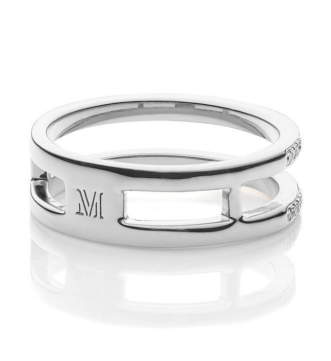 Skinny Diamond Double Band Ring Back