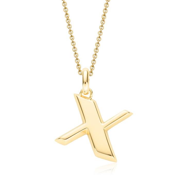 Gold Vermeil Alphabet Pendant X Chain