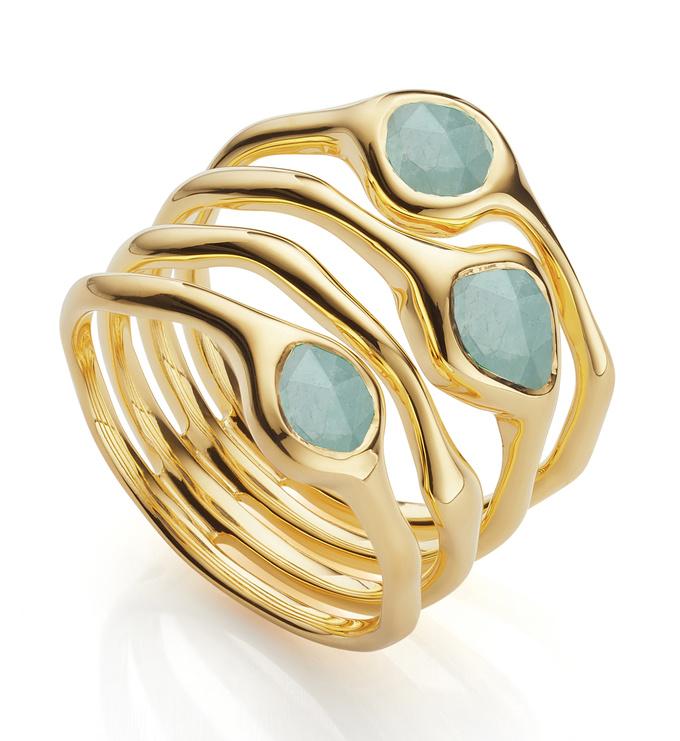 Gold Vermeil Siren Cluster Cocktail Ring - Aquamarine - Monica Vinader