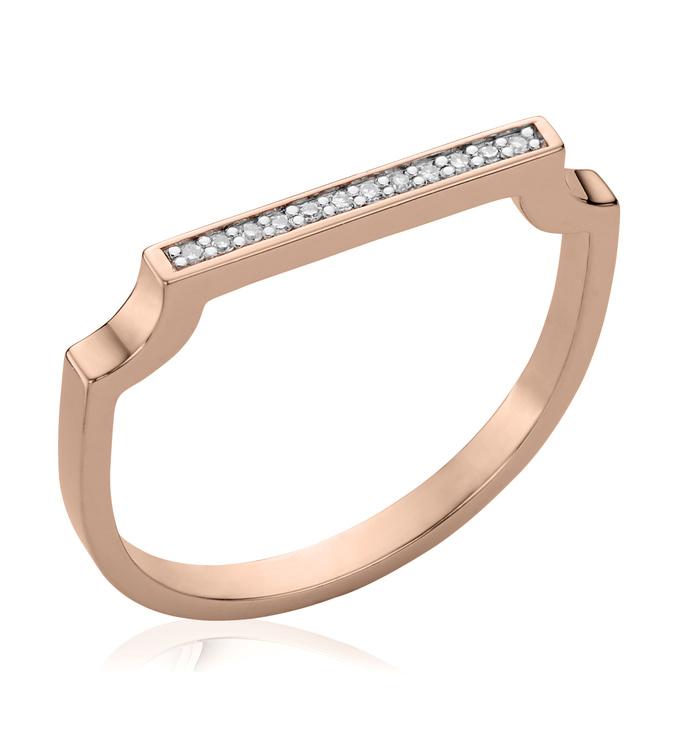 Rose Gold Vermeil Signature Thin Diamond Ring - Diamond - Monica Vinader