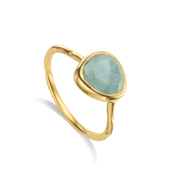 Gold Vermeil Siren Stacking Ring - Aquamarine - Monica Vinader