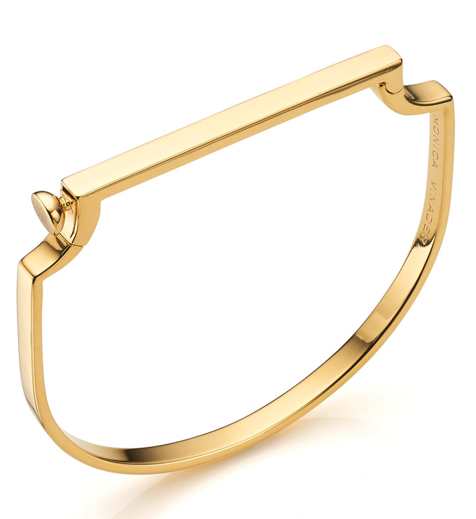 Gold Vermeil Signature Thin Bangle angled view