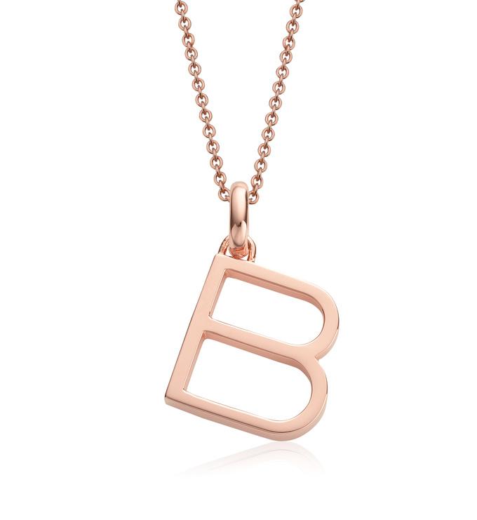 Rose Gold Vermeil Alphabet Pendant B Chain