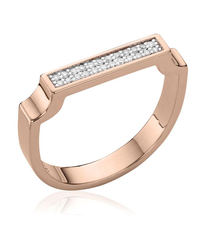 Rose Gold Vermeil Signature Diamond Ring - Diamond - Monica Vinader
