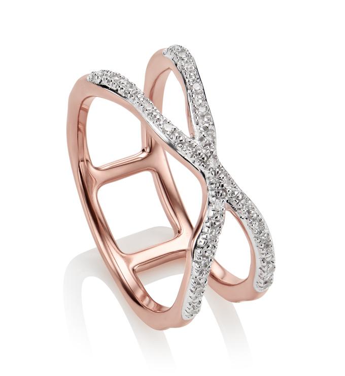 Rose Gold Vermeil Riva Wave Cross Ring - Diamond - Monica Vinader