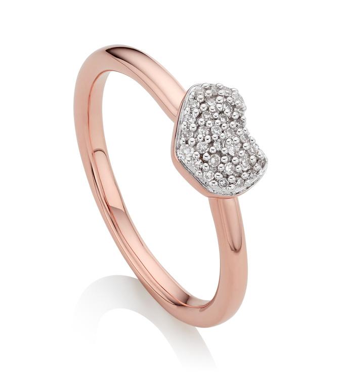 Rose Gold Vermeil Nura Mini Heart Ring - Diamond - Monica Vinader