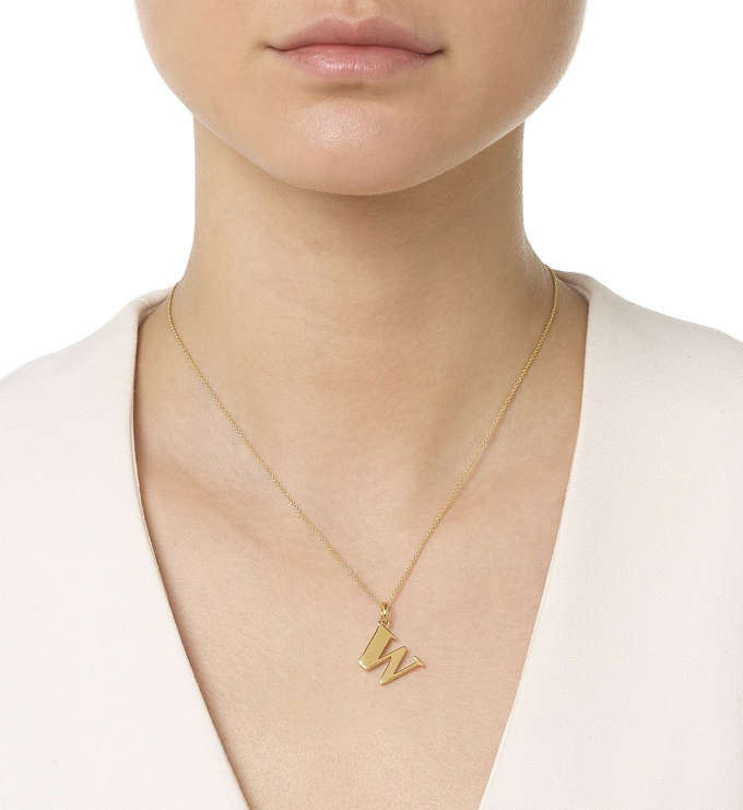 Gold Vermeil Alphabet Pendant W Model