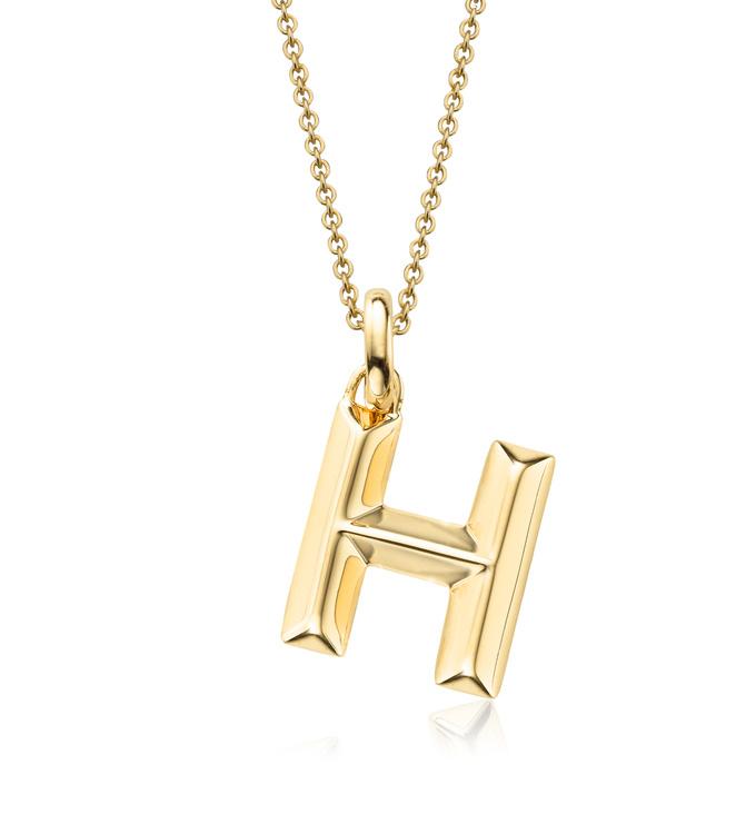 Gold Vermeil Alphabet Pendant H Chain
