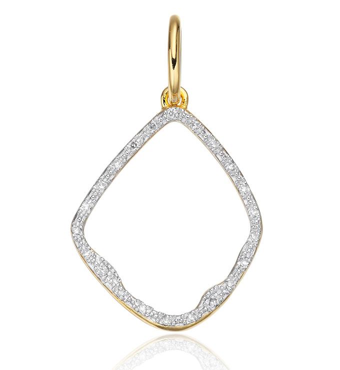 Gold Vermeil Riva Hoop Diamond Pendant Charm - Diamond - Monica Vinader