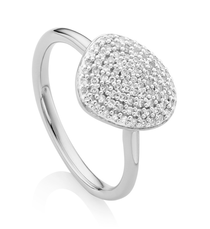 Sterling Silver Nura Pebble Stacking Diamond Ring - Diamond - Monica Vinader